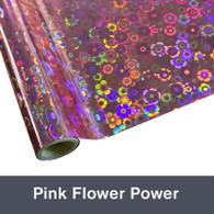 "Pink Flower Power Textile Foil 12"" x 1 yd"