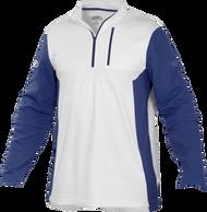 Rawlings Adult Quarter Zip Fleece Pullover White/Navy Blue