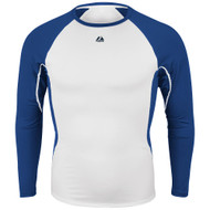 Majestic MI386 Adult Premiere Warrior Long Sleeve Royal Blue/White Shirt