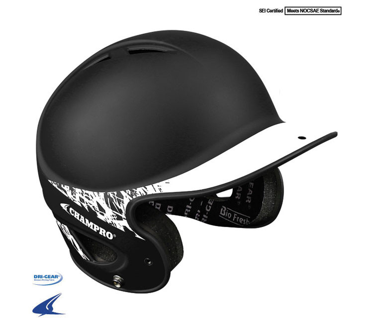 49197bbb9 Champro Two-Tone Rubberized Matte Finish Performance Batting Helmet (H4J)