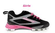 Rawlings Capture Girls Upper Youth Cleats Black/Pink