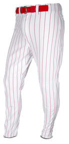 All Star Youth Baseball White/Scarlet Pinstripe Pants