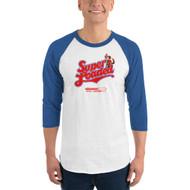 """Super Loaded"" Baseball Raglan Adult Shirt White/Royal"