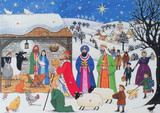 Advent Calendar Card Jesus is Born Visitors Gather