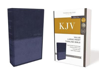 KJV, Value Thinline Bible, Large Print, Leathersoft, Blue, Red Letter Edition, Comfort Print cover photo