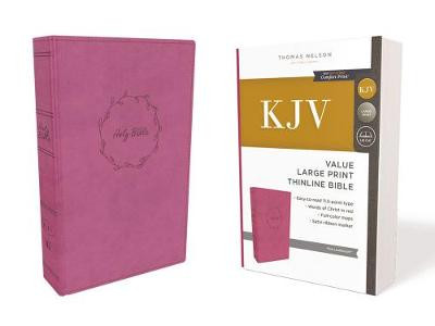 KJV, Value Thinline Bible, Large Print, Leathersoft, Pink, Red Letter Edition, Comfort Print cover photo