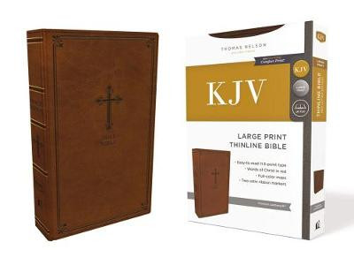 KJV, Thinline Bible, Large Print, Leathersoft, Brown, Red Letter Edition, Comfort Print cover photo