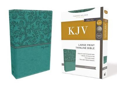 KJV, Thinline Bible, Large Print, Leathersoft, Green, Red Letter Edition, Comfort Print cover photo