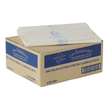 MaxValu Degradable 240 Litres Bin Liners Clear Super Strong Garbage Bags 100/ctn (GH240D) | Maxpak Products Envirogreen Degradable | Environmentally Friendly