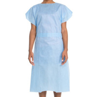 Halyard Patient Exam Gown Short Sleeve Blue 10/pack (HAL6816)