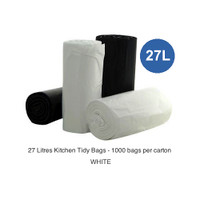 Kitchen Tidy Bags 27 Litres White 1000 Bags 1000 bags per carton