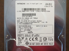 Hitachi HDS723020BLA642 PN:0F16980 MLC:MNR6P0 Apple#655-1727B 2.0TB Sata  (Donor for Parts)