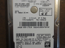 Hitachi HTS541010A9E662 PN:0J26273 MLC:DA5218 Apple#655-1751B 1000gb Sata