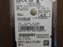 Hitachi HTS541010A9E662 PN:0J37013 MLC:DA5747 Apple#655-1751E 1000gb Sata