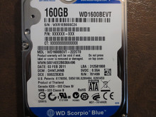 Western Digital WD1600BEVT-22ZCT0 DCM:DHNTJHNB 160gb Sata (Donor for Parts)