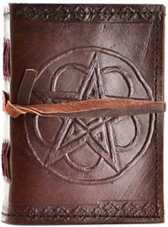 Pentagram leather blank journal w/ cord