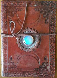 Triple Moon with Stone Embossed leather w/ cord