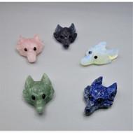 Gemstone Animal Face Pendant - Coyote or Fox