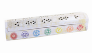 "WOODEN INCENSE BURNER WITH STORAGE 12""  White Chakra Designs"