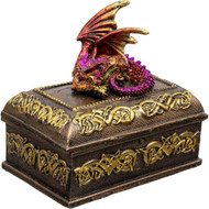 Celtic Dragon Box - Pink/Red Small Jewelry Box