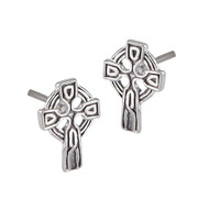 STERLING SILVER CELTIC CROSS STUD EARRING