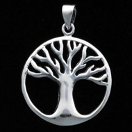 Sterling Silver Tree of Life Circle Pendant