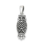 Sterling Silver Great Horned Owl Pendant