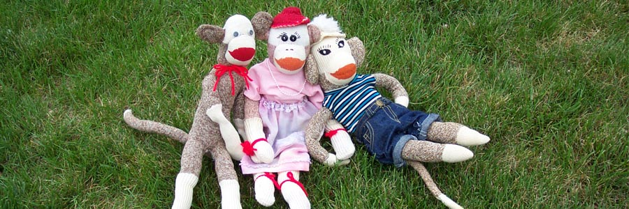 Handmade Vintage Nelson Red Heel Sock Monkeys