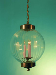 Ribbed Optic Glass Pendant Light 6""
