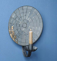 Multifaceted Mirror Wall Sconce - Curved Arm