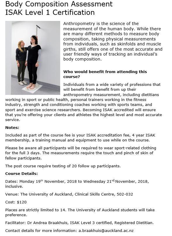 Body Composition Assessment - ISAK Level 1 Certification