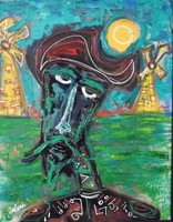 "Black Quijote. 16"" x 20"" Mixed Media on cardboard ."