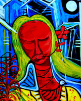 """PEACE WOMAN. Digital reproduction retouched and mounted on hardboard size 8"""" x 10"""""""