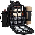 Picnic at Ascot - Deluxe Equipped 2 Person Picnic Backpack w/Cooler, Insulated Wine Holder & Blanket - Black | James Anthony Collection