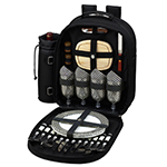 Picnic at Ascot 4 Person Picnic Backpack w/Cooler & Insulated Wine Holder - Black | James Anthony Collection