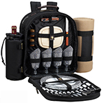 Picnic at Ascot 4 Person Picnic Backpack w/Cooler, Insulated Wine Holder & Blanket - Black | James Anthony Collection
