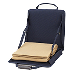 Picnic at Ascot Portable Adjustable Reclining Seat with Fleece Blanket - Navy | James Anthony Collection
