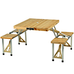 Picnic at Ascot Portable Folding Wooden Outdoor Picnic Table with Seating - Natural | James Anthony Collection