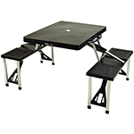 Picnic at Ascot Portable Folding Outdoor Picnic Table with Seating - Black | James Anthony Collection