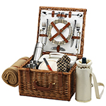 Picnic at Ascot Cheshire English-Style Willow Picnic Basket for 2 w/  Coffee Set and Blanket