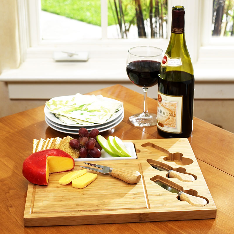 Celtic Bamboo Cheese Board Set w/Dish and 3 Tools