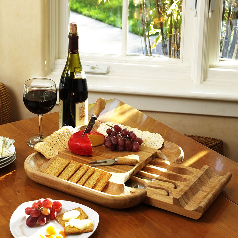 Malvern Bamboo Cheese Board Set with 4 Tools