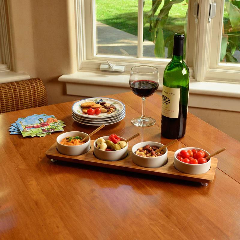 Bamboo Serving Platter w/ 4 Olive Motif Ceramic Serving Bowls
