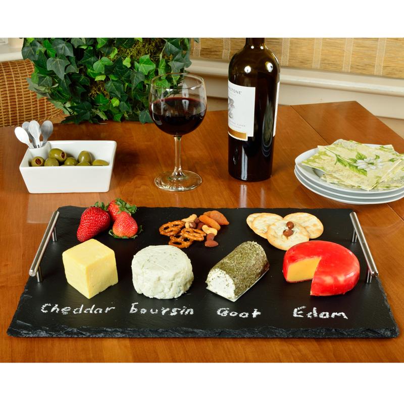 The Sardo Slate Cheese Board w/ 4 Tools & Soapstone Chalk