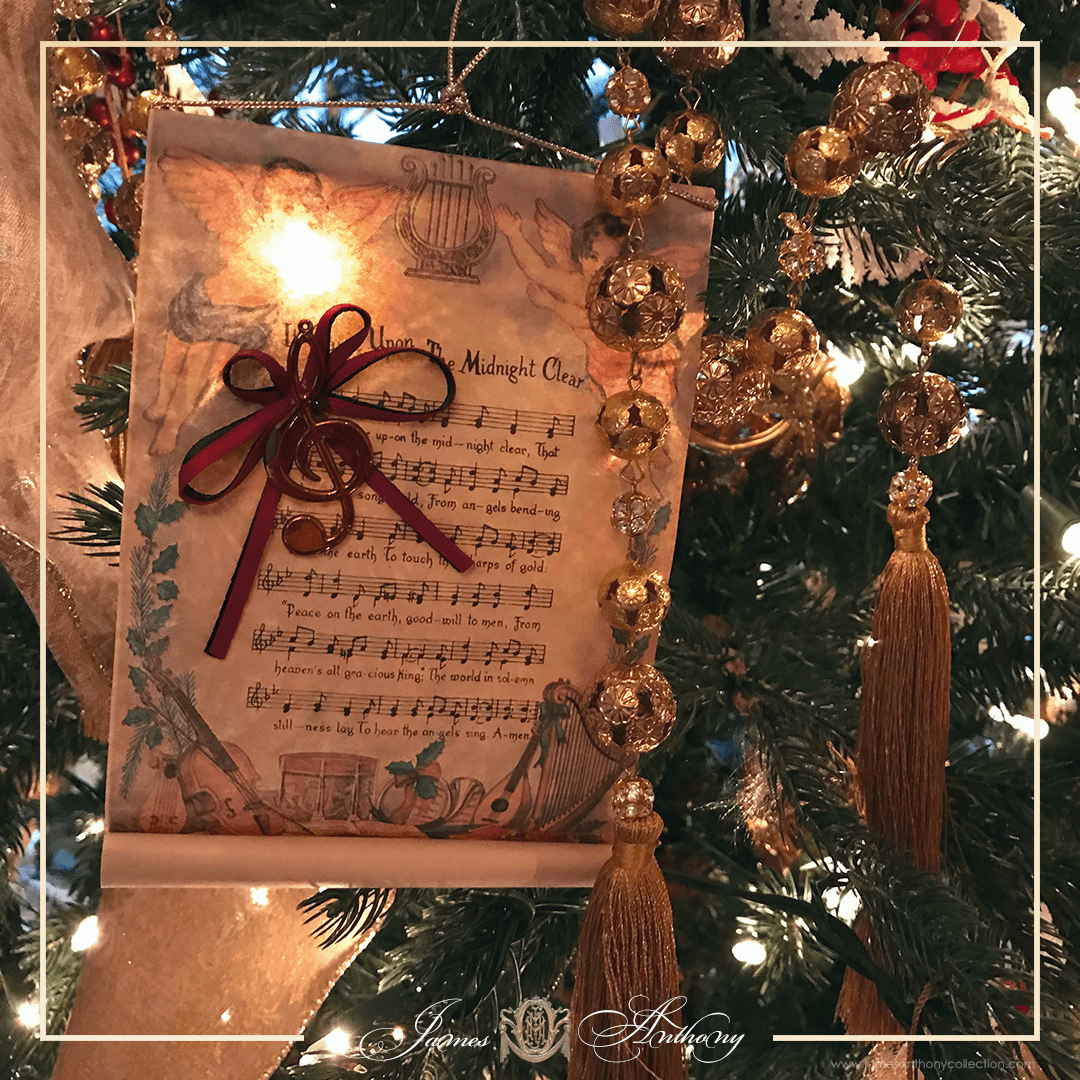 Luxury Christmas Decoration | James Anthony Collection - Decoration - It Came Upon The Midnight Clear Music Scroll