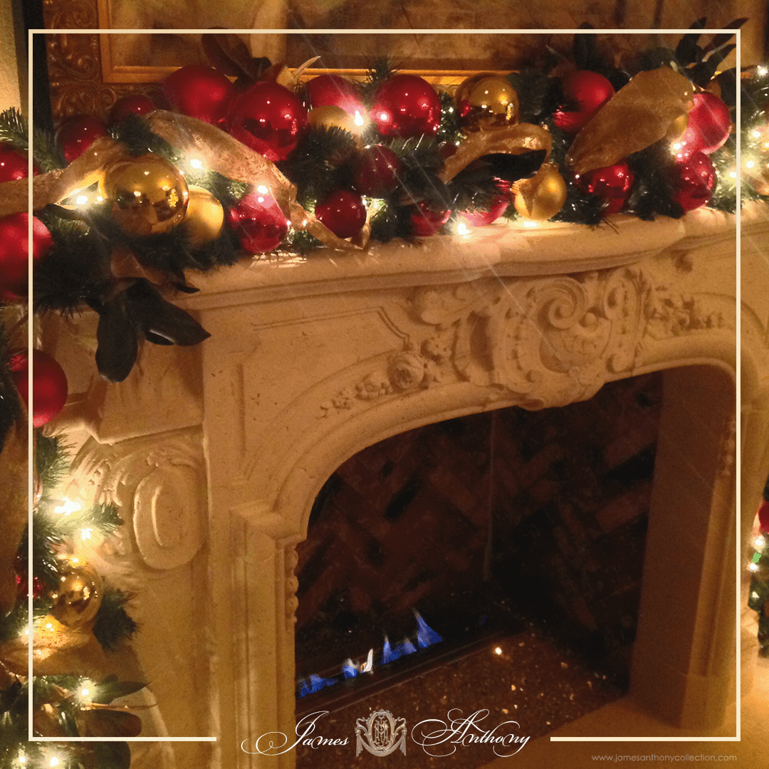 Luxury Christmas Decoration | James Anthony Collection - Fireplace Decorated for Christmas