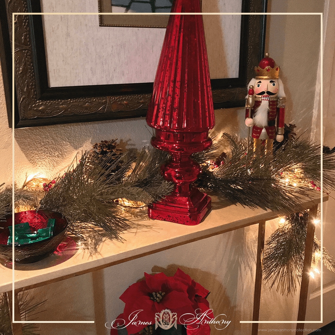Luxury Christmas Decoration | James Anthony Collection - Foyer Table Is Decked Out For Christmas.