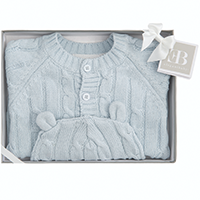 Elegant Baby Cable Knit Sweater and Hat Boxed Set - Blue | James Anthony Collection