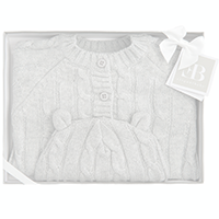 Elegant Baby Cable Knit Sweater and Hat Boxed Set - Gray | James Anthony Collection