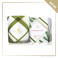 Thymes Frasier Fir Frosted Plaid Medium Poured Candle   James Anthony Collection